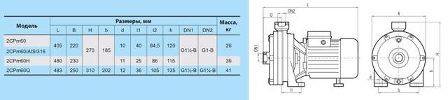 Поверхностный бытовой насос «Насосы +» 2CPm 60/AISI316 размеры