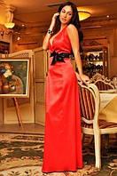 Длинное вечернее платье в пол с открытой спиной и глубоким декольте