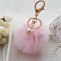 Брелок меховый шар пушистый, розовый, фото 1