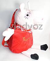 Детский плюшевый рюкзак свинка пеппа красный в виде игрушки