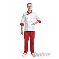Поварской костюм мужской Брюссель белый/красный №7