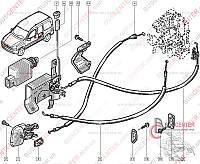 Трос замка двери боковой раздвижной правой Renault Kangoo (1997-2007) 8200182966 TRANSPORTERPARTS 05.0324