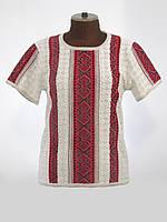Женская рубашка вязаная Маруся темно-красная (короткий рукав)