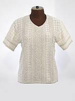 Женская рубашка вязаная Маруся белая (короткий рукав)