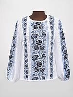 Женская рубашка вязаная Роза темно-синяя (х/б)