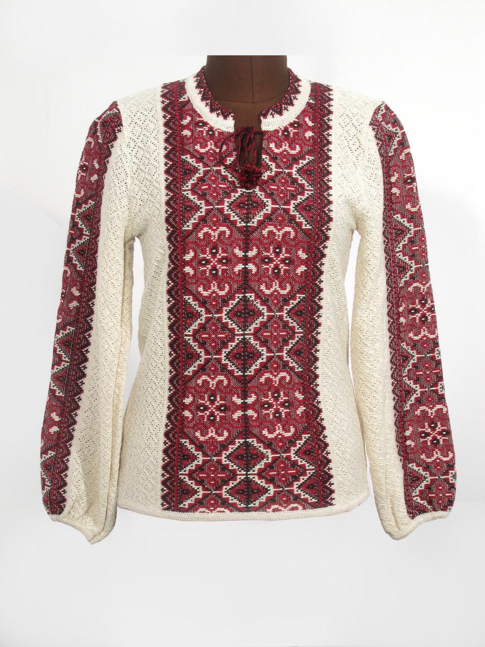 Женская рубашка вязаная Влада красная