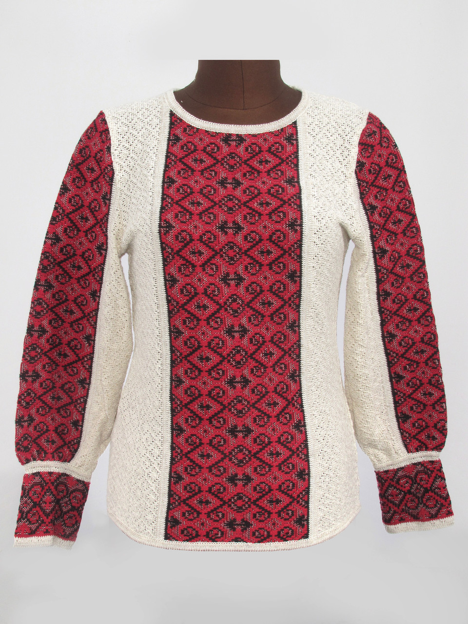 Женская рубашка вязаная Ромбы темно-красные
