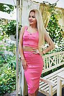 """Летний джинсовый женский костюм """"Rita"""" топ и миди-юбка с завышенной талией (3 цвета)"""