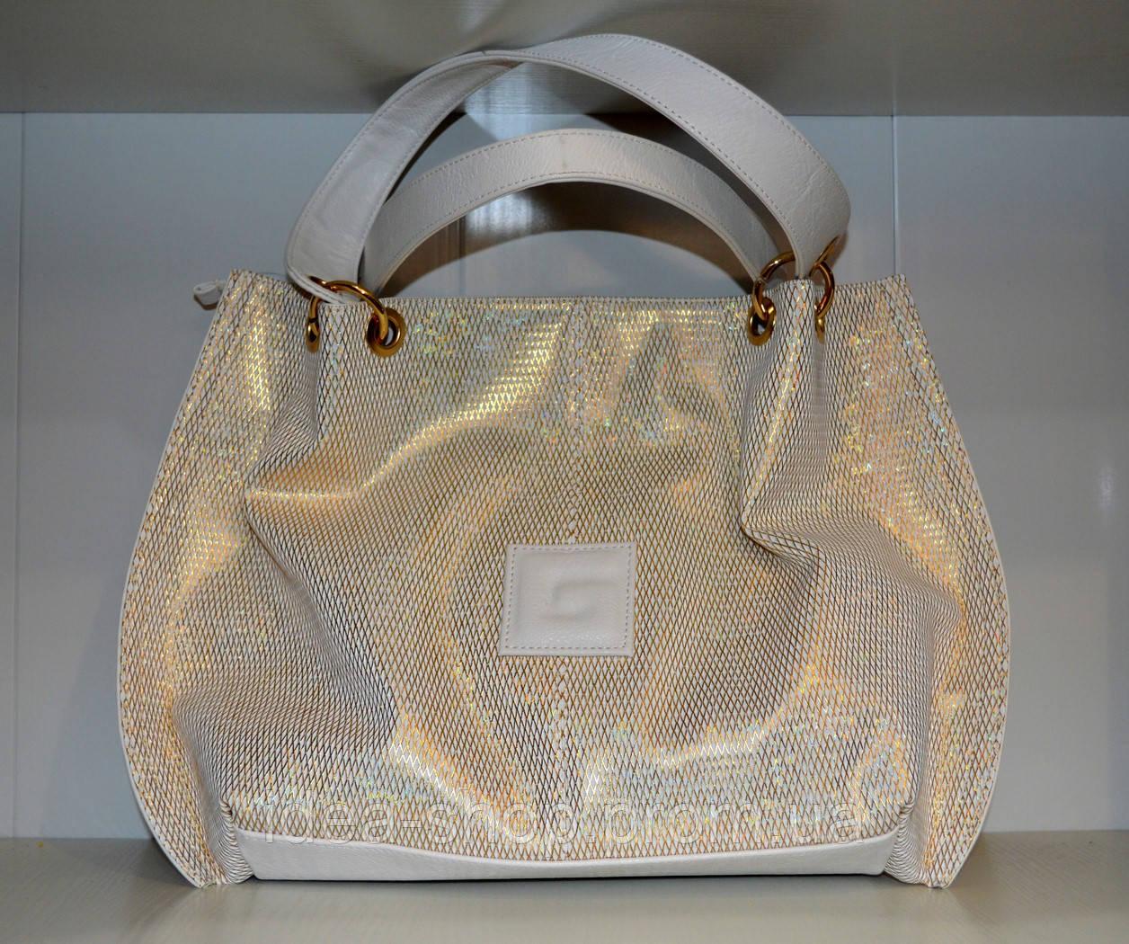 9fbd97181ec6 Сумка-торба женская белая золотистый принт - интернет-магазин