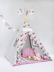 Вигвам  «Слоник с розовым зонтом»