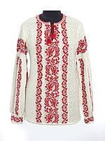 Женская рубашка вязаная Львовянка красная со стойкой