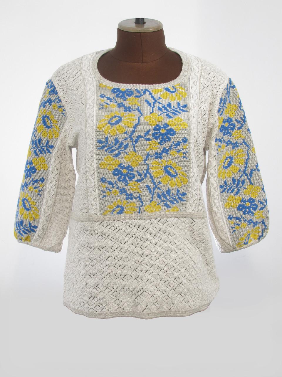 Женская рубашка вязаная Ромашки желто-синие (3/4 рукав)