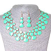 [15х35 серьги мм.] Набор ожерелье + серьги Лава-Лампа, металл Gold и глянец аквамарин