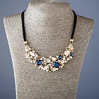 """Колье на лентах с синими кристаллами L-50 см - цвет металла """"золото"""""""