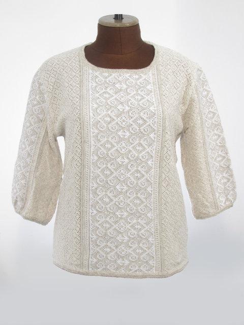 Женская рубашка вязаная Ромбы белые (3/4 рукав)