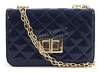 Стильный небольшая качественная лаковая стеганная женская каркасная сумочка клатч Suliya art. 6813-1 темно син