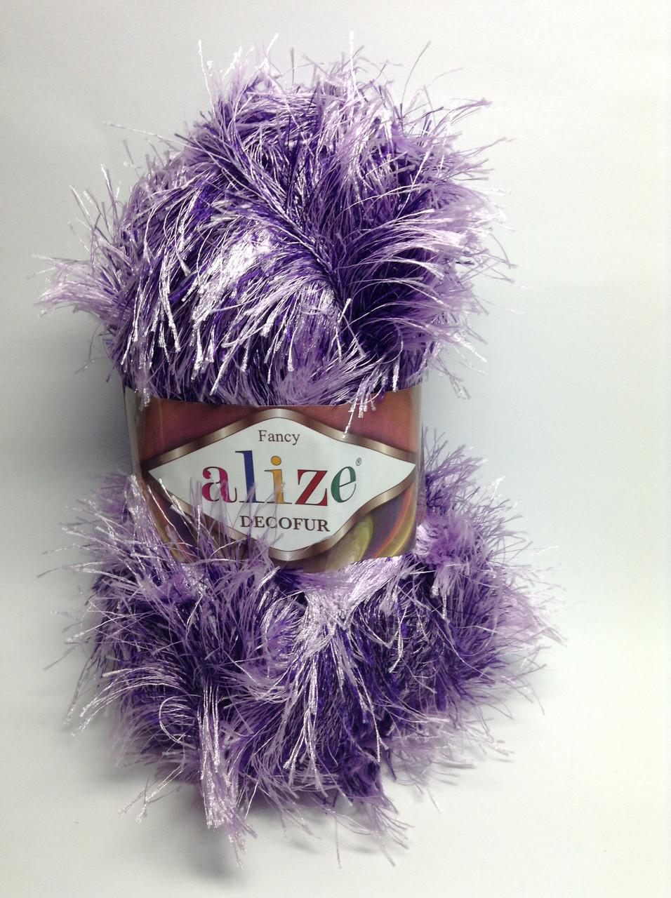 Пряжа decofur Alize (травка) - сиренево-фиолетовая