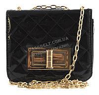 Стильный маленькая качественная лаковая стеганная женская каркасная сумочка клатч Suliya art. 1203-1 черная