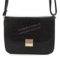 Удобная небольшая качественная женская каркасная сумочка клатч под рептилию B.Elit art. 005-36 черный