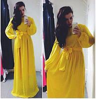 Длинное однотонное платье в пол с манжетами на рукавах
