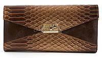 Женский маленький стильный клатч барсетка под рептилию FUERDANNI art. 2901A-3 коричневый