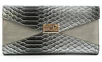 Женский маленький стильный клатч барсетка под рептилию FUERDANNI art. 2901A-3 серый