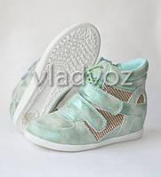 Демисезонные сникерсы, ботинки для девочки мята 32р. JiLi