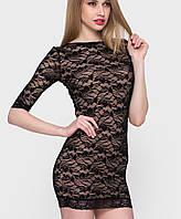 Женское короткое гипюровое платье (01431 sk)