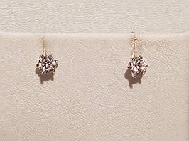 Золотые серьги-пуссеты с фианитами. Артикул СП020БИ