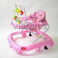Детские ходунки музыкальная панель тормоз розовые Bamby 12 мелодий