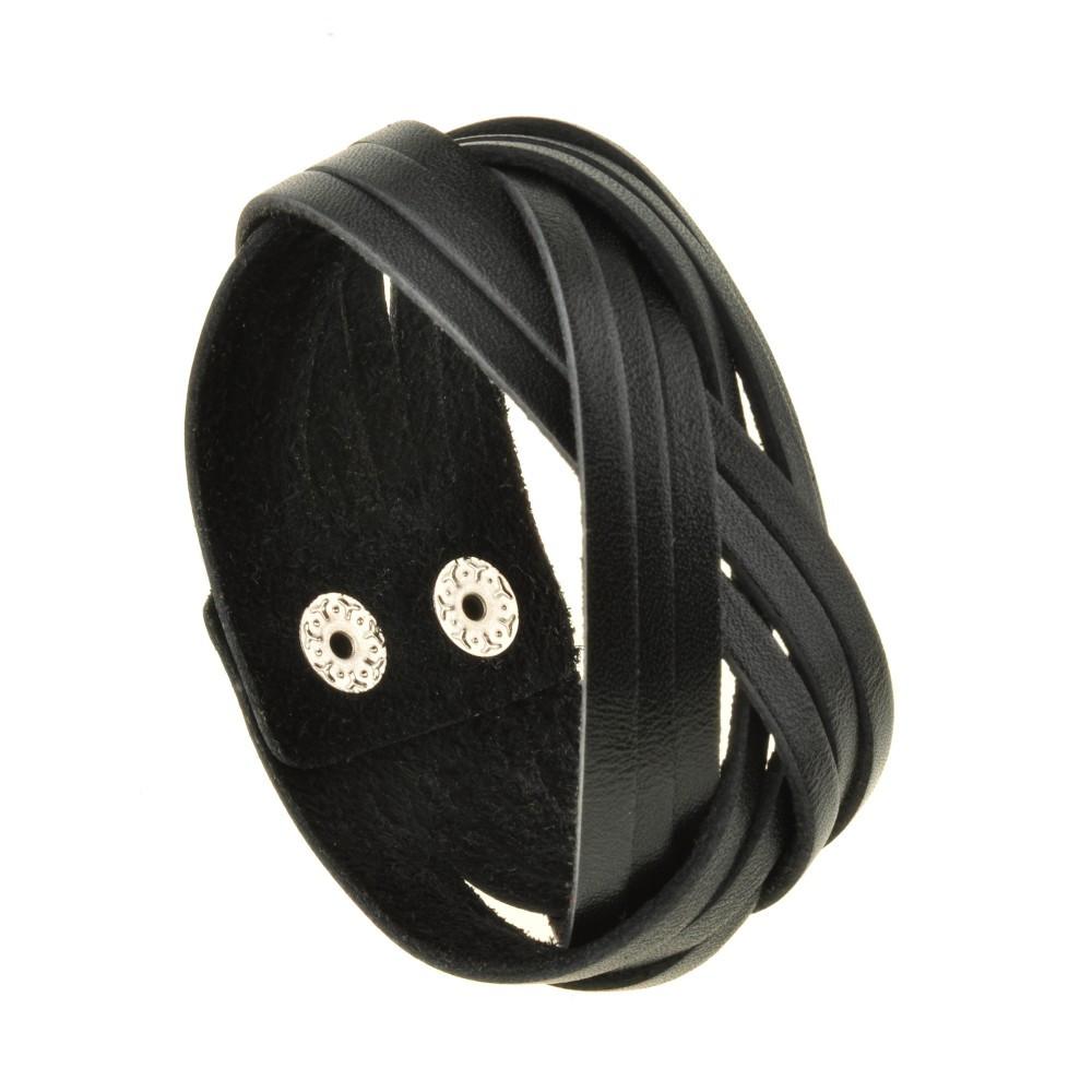 Браслет кожаный черный косичка (ручная работа)
