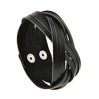 Браслет кожаный черный косичка (ручная работа), фото 1
