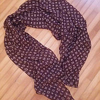 Тонкий шарф Louis Vuitton шифон коричневый