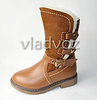 Зимние кожаные сапоги для девочки коричневые 32р.