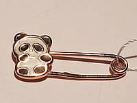 Золотая брошь Панда с эмалью. Артикул БШ075И