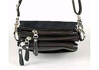 Мужская сумка Bradford 8885-1 черная на три молнии искусственная кожа размер 17 х 21 х 7 см