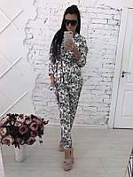Женский красивый льняной костюм в пижамном стиле: пиджак и шорты (4 цвета)