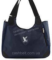 Вместительная прочная тканевая женская сумка LV БН art. 17-17 синяя