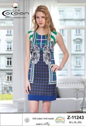 Женская туника-платье без рукавов
