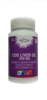 Рыбий жир в Омега-3, повышает содержание в организме серотонина Cod liver oil 300 mg / 100 таб Apollo