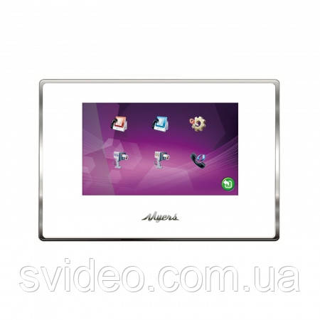 Видеодомофон Myers M75SD Touch Plastic White, сенсорный,  с большим экраном, без трубки