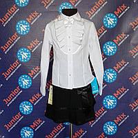 Школьная детская  белая блузка для девочки длинный рукав KUBITEX