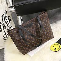 Большая женская сумка в стиле Louis Vuitton коричневая