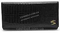 Стильный кожаный лаковый женский кошелек черного цвета art.B9045A