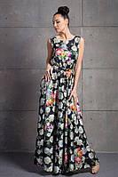 Женское длинное шелковое платье