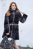 NEW 2017 Шуба из канадского бобра, с отделкой из норки, цвет темный ирис,80см, 48/50р