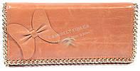 Оригинальный женский кожаный кошелек высокого качества с цепью и бантом art. 9867 светло коричн