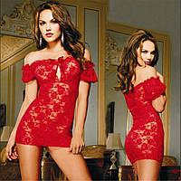 Красный сексуальный кружевной пеньюар Жасмин