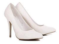 Туфли женские свадебные белого цвета с нежным  цветочным узором Большой выбор обуви на http://saxo.com.ua
