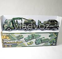 Машинка автовоз военный треллер с прицепом + танк + машинка